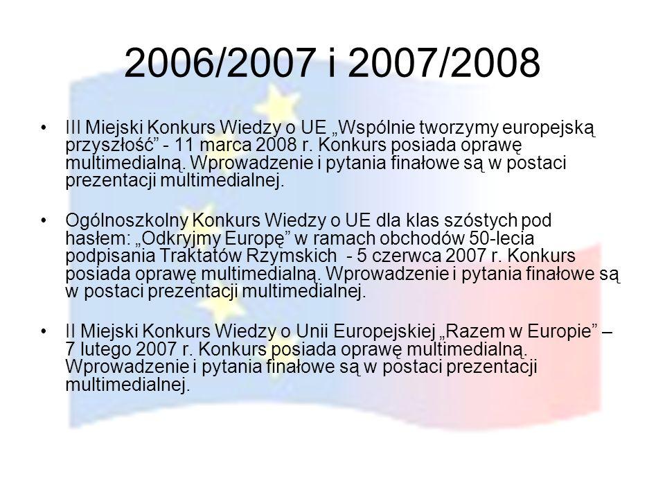 2006/2007 i 2007/2008 III Miejski Konkurs Wiedzy o UE Wspólnie tworzymy europejską przyszłość - 11 marca 2008 r. Konkurs posiada oprawę multimedialną.