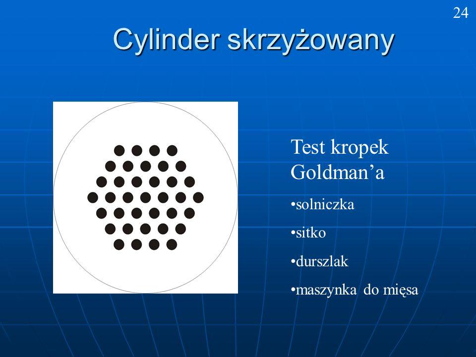 Cylinder skrzyżowany 24 Test kropek Goldmana solniczka sitko durszlak maszynka do mięsa