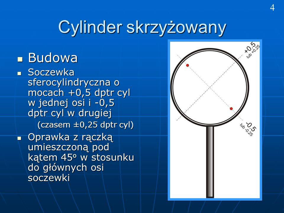 Cylinder skrzyżowany Budowa Budowa Soczewka sferocylindryczna o mocach +0,5 dptr cyl w jednej osi i -0,5 dptr cyl w drugiej Soczewka sferocylindryczna o mocach +0,5 dptr cyl w jednej osi i -0,5 dptr cyl w drugiej (czasem ±0,25 dptr cyl) (czasem ±0,25 dptr cyl) Oprawka z rączką umieszczoną pod kątem 45 o w stosunku do głównych osi soczewki Oprawka z rączką umieszczoną pod kątem 45 o w stosunku do głównych osi soczewki 4