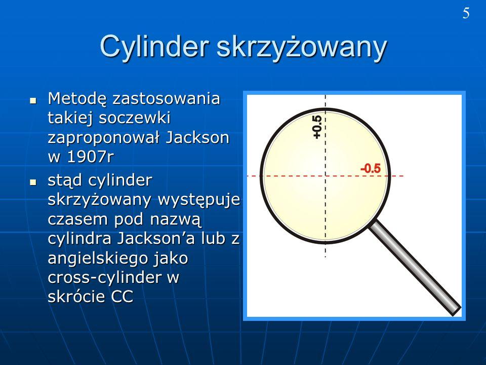 Cylinder skrzyżowany Metodę zastosowania takiej soczewki zaproponował Jackson w 1907r Metodę zastosowania takiej soczewki zaproponował Jackson w 1907r stąd cylinder skrzyżowany występuje czasem pod nazwą cylindra Jacksona lub z angielskiego jako cross-cylinder w skrócie CC stąd cylinder skrzyżowany występuje czasem pod nazwą cylindra Jacksona lub z angielskiego jako cross-cylinder w skrócie CC 5