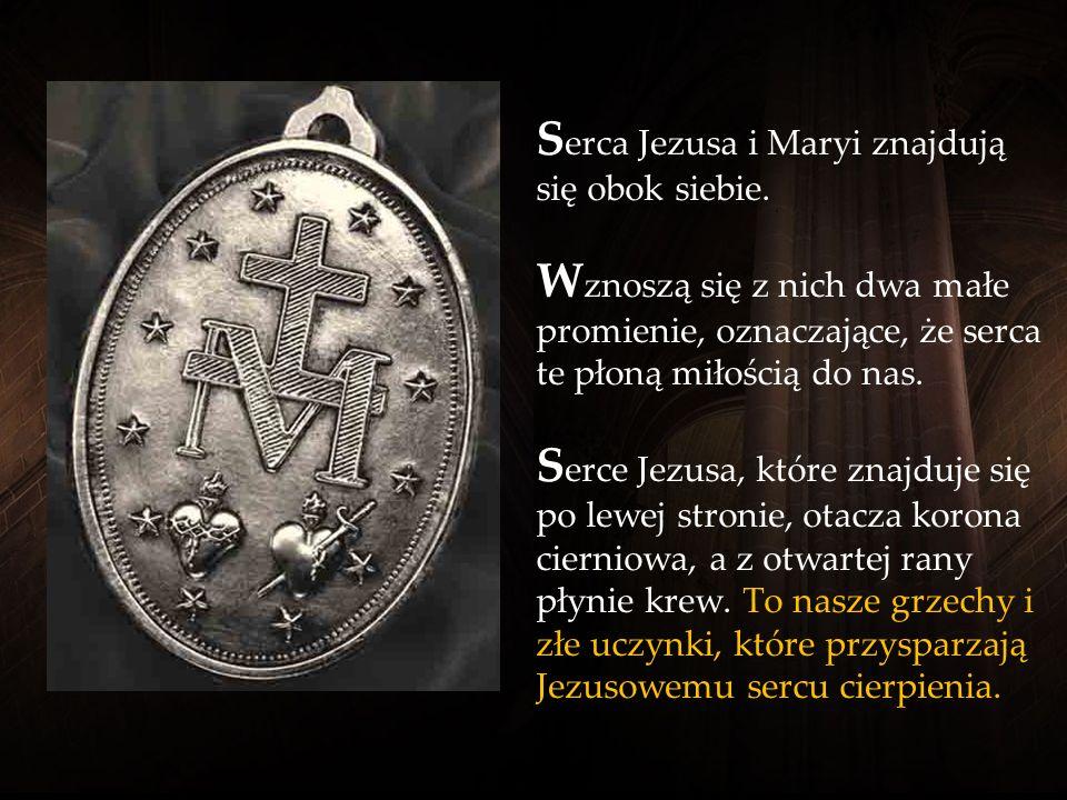 N a rewersie Cudownego Medalika widoczne jest duże M, pierwsza litera imienia Maryja, nad którą wznosi się krzyż. U stóp krzyża cierpiąca Maryja pokaz