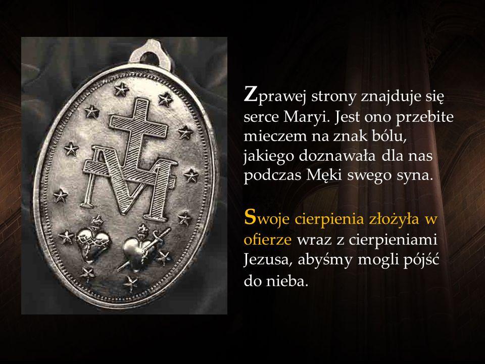 S erca Jezusa i Maryi znajdują się obok siebie. W znoszą się z nich dwa małe promienie, oznaczające, że serca te płoną miłością do nas. S erce Jezusa,