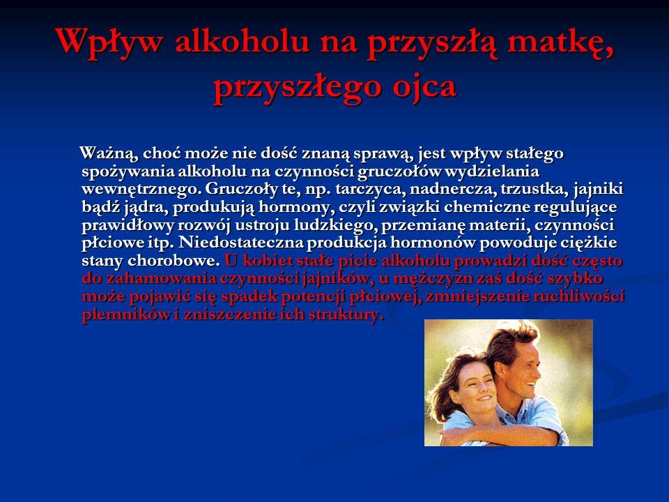 Wpływ alkoholu na młodego człowieka Alkohol zabija więcej dzieci niż wszystkie inne narkotyki razem wzięte. Powtarzające się picie alkoholu przez nast