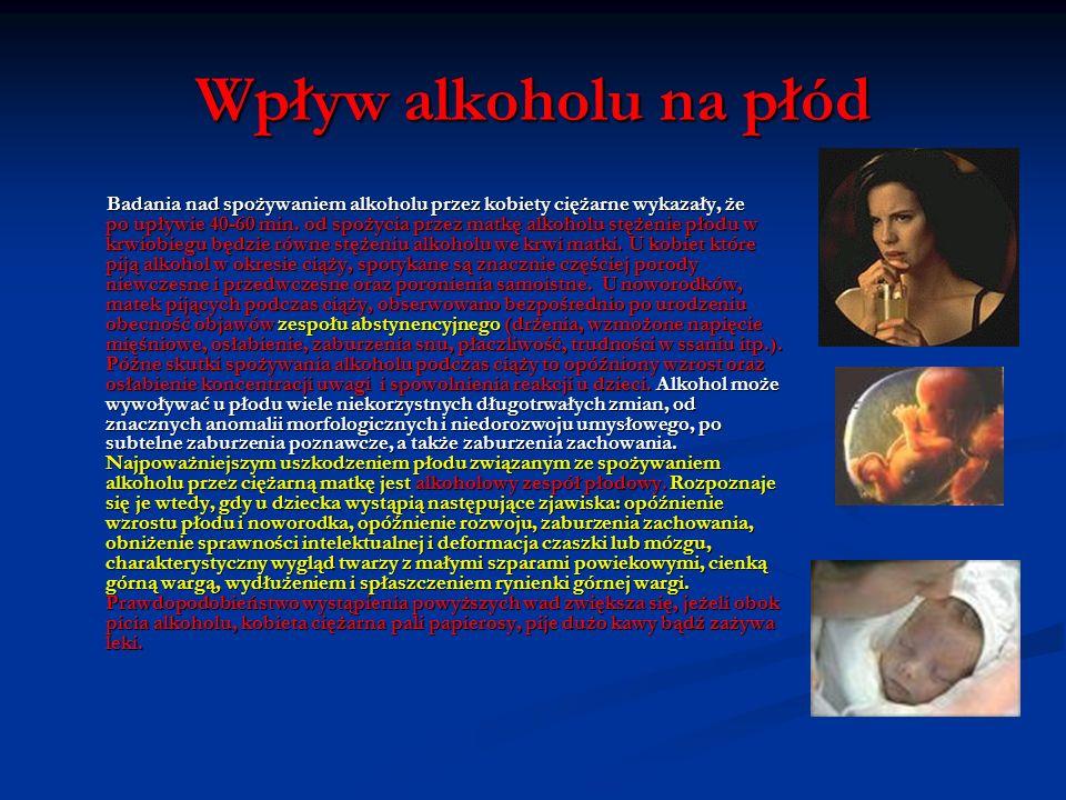 Wpływ alkoholu na przyszłą matkę, przyszłego ojca Ważną, choć może nie dość znaną sprawą, jest wpływ stałego spożywania alkoholu na czynności gruczołó
