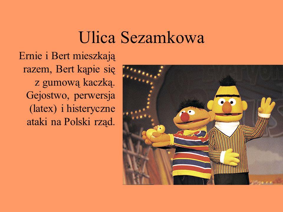 Ulica Sezamkowa Ernie i Bert mieszkają razem, Bert kąpie się z gumową kaczką. Gejostwo, perwersja (latex) i histeryczne ataki na Polski rząd.