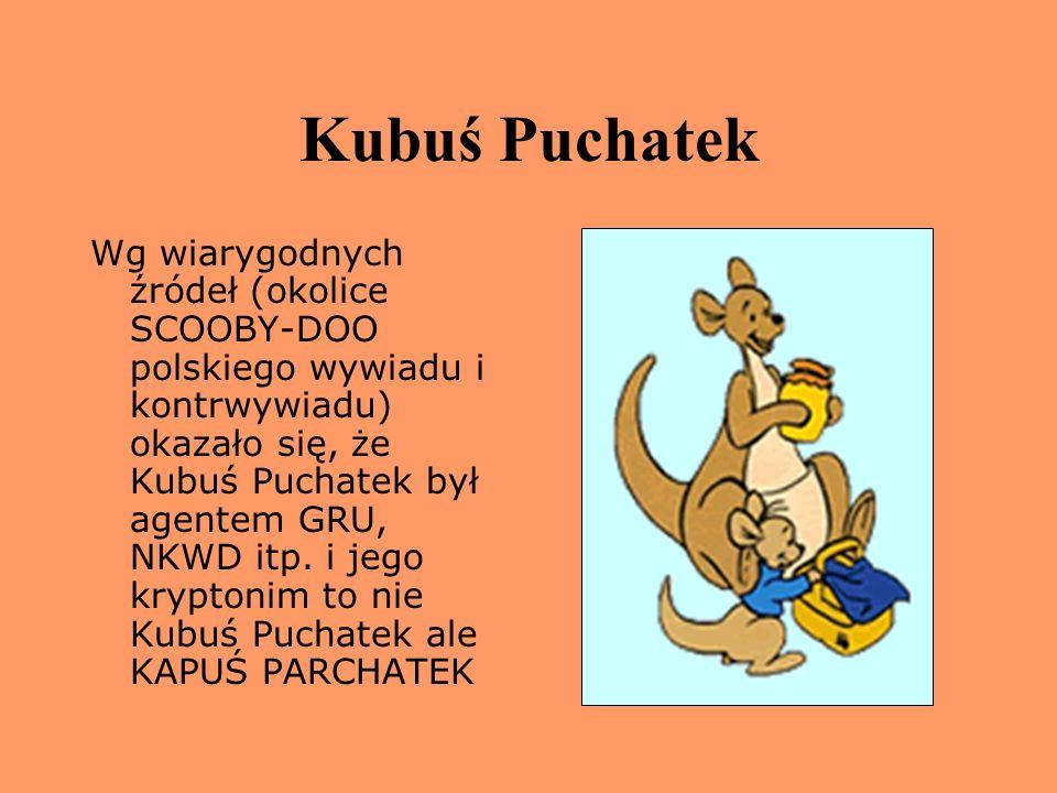 Kubuś Puchatek Wg wiarygodnych źródeł (okolice SCOOBY-DOO polskiego wywiadu i kontrwywiadu) okazało się, że Kubuś Puchatek był agentem GRU, NKWD itp.
