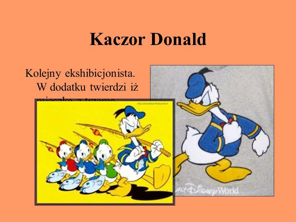 Kaczor Donald Kolejny ekshibicjonista. W dodatku twierdzi iż mieszka z trzema siostrzeńcami, choć każdy głupi wie, że nie ma siostry!!!