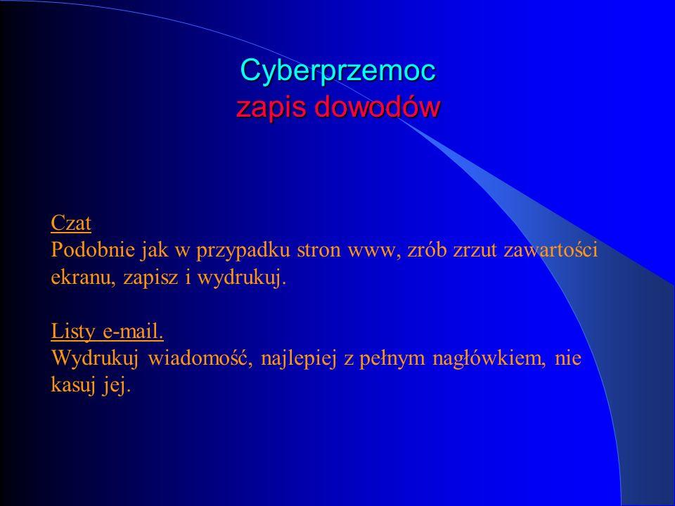 Cyberprzemoc zapis dowodów Czat Podobnie jak w przypadku stron www, zrób zrzut zawartości ekranu, zapisz i wydrukuj. Listy e-mail. Wydrukuj wiadomość,