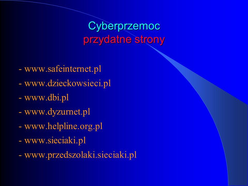 Cyberprzemoc przydatne strony - www.safeinternet.pl - www.dzieckowsieci.pl - www.dbi.pl - www.dyzurnet.pl - www.helpline.org.pl - www.sieciaki.pl - ww