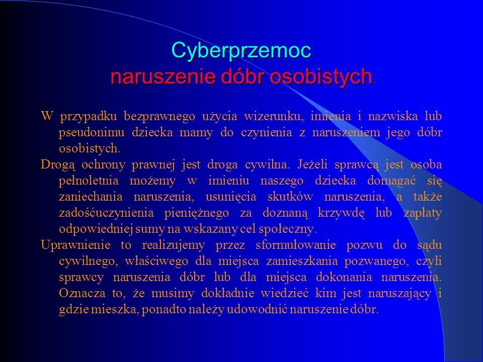 Cyberprzemoc naruszenie dóbr osobistych W przypadku bezprawnego użycia wizerunku, imienia i nazwiska lub pseudonimu dziecka mamy do czynienia z narusz