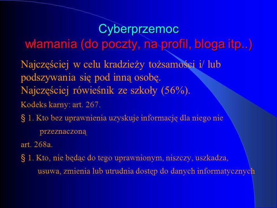 Cyberprzemoc włamania (do poczty, na profil, bloga itp..) Najczęściej w celu kradzieży tożsamości i/ lub podszywania się pod inną osobę. Najczęściej r