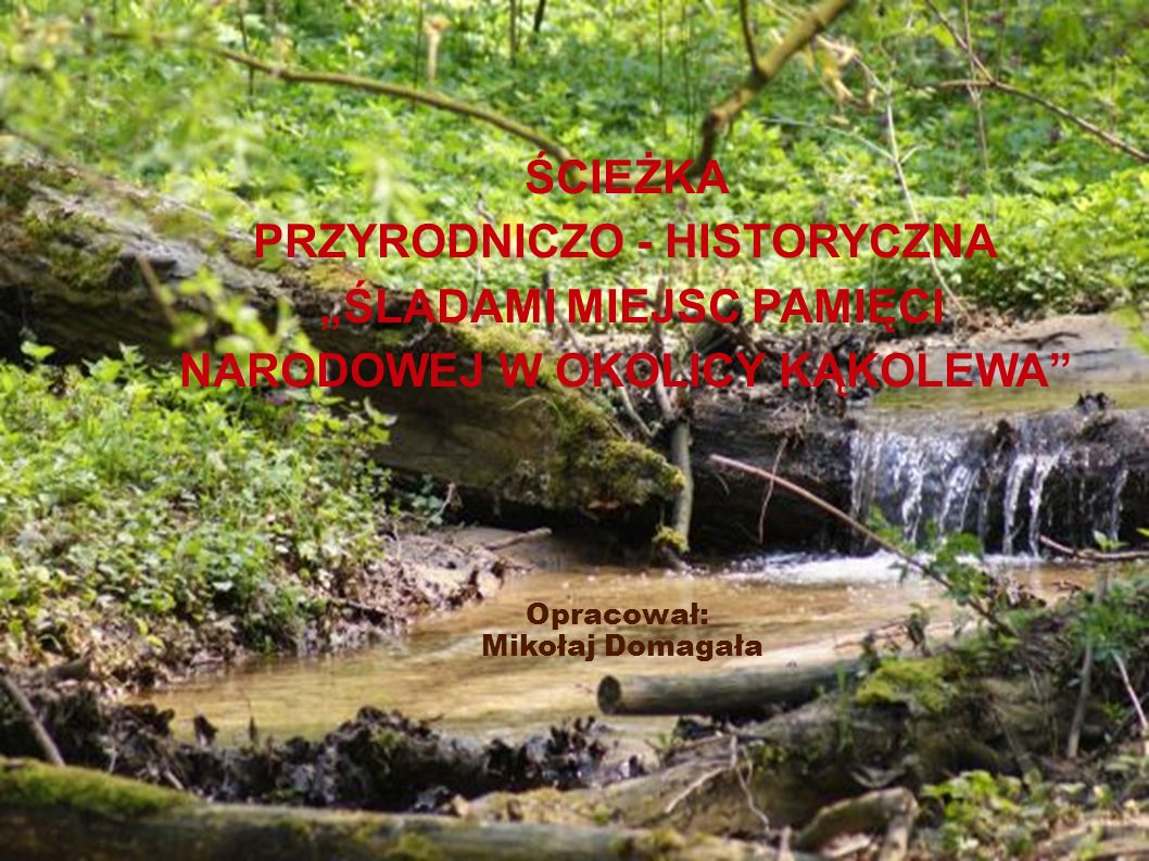 ŚCIEŻKA PRZYRODNICZO - HISTORYCZNA ŚLADAMI MIEJSC PAMIĘCI NARODOWEJ W OKOLICY KĄKOLEWA Opracował: Mikołaj Domagała