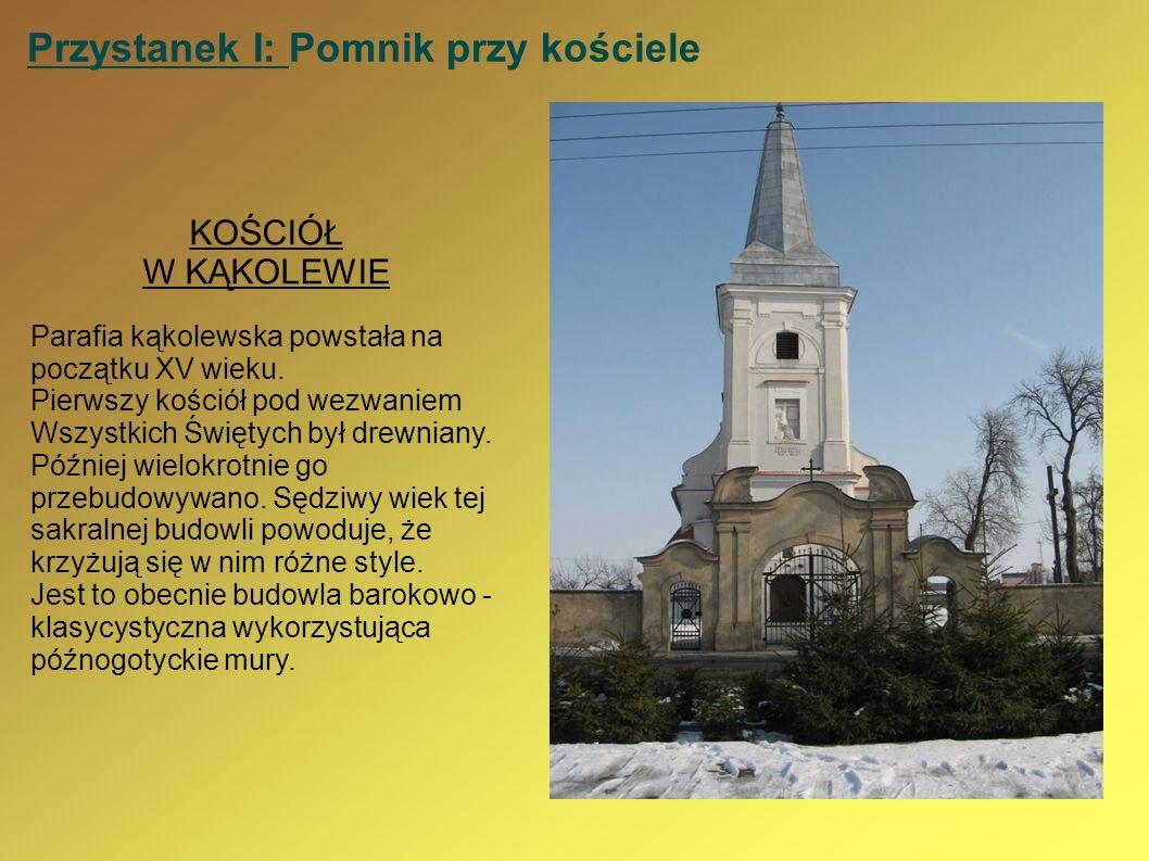 Przystanek I: Pomnik przy kościele KOŚCIÓŁ W KĄKOLEWIE Parafia kąkolewska powstała na początku XV wieku. Pierwszy kościół pod wezwaniem Wszystkich Świ