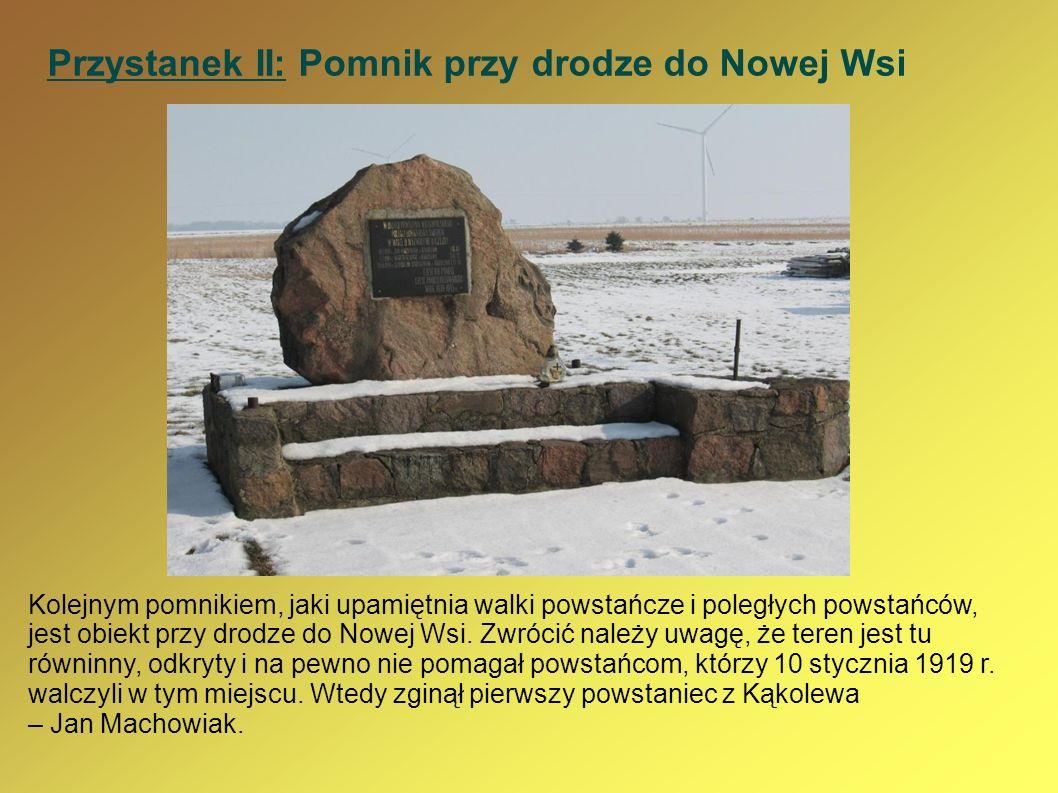 Przystanek II: Pomnik przy drodze do Nowej Wsi Kolejnym pomnikiem, jaki upamiętnia walki powstańcze i poległych powstańców, jest obiekt przy drodze do
