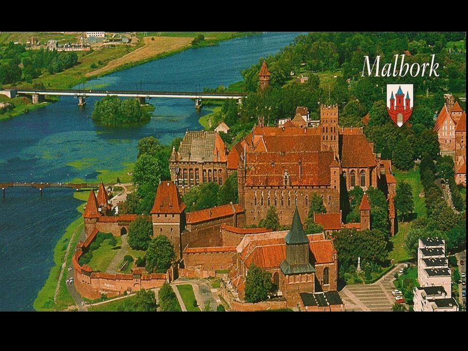 Malbork W północnej części miasta, nad Nogatem, znajduje się monumentalny zamek krzyżacki, jeden z największych zachowanych zespołów gotyckiej archite