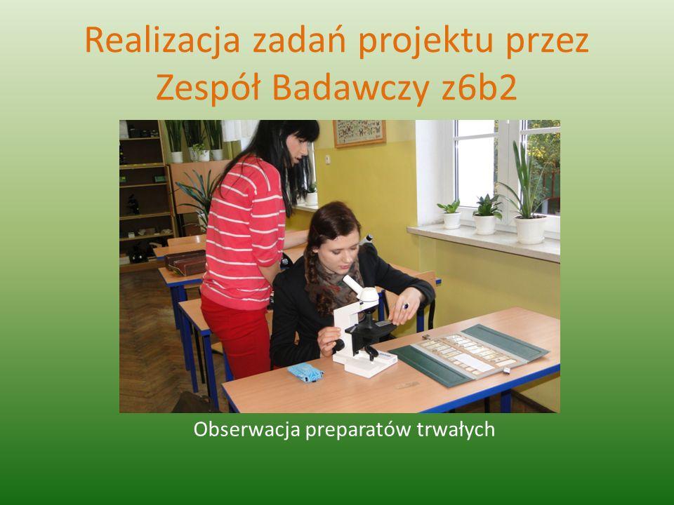 Realizacja zadań projektu przez Zespół Badawczy z6b2 Obserwacja preparatów trwałych