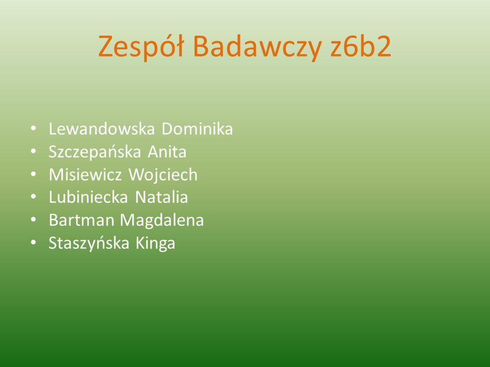 Zespół Badawczy z6b2 Lewandowska Dominika Szczepańska Anita Misiewicz Wojciech Lubiniecka Natalia Bartman Magdalena Staszyńska Kinga