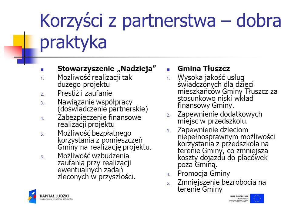 Korzyści z partnerstwa – dobra praktyka Stowarzyszenie Nadzieja 1.