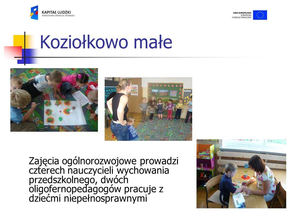 Koziołkowo małe Zajęcia ogólnorozwojowe prowadzi czterech nauczycieli wychowania przedszkolnego, dwóch oligofernopedagogów pracuje z dziećmi niepełnosprawnymi