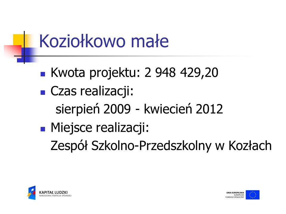 Koziołkowo małe Kwota projektu: 2 948 429,20 Czas realizacji: sierpień 2009 - kwiecień 2012 Miejsce realizacji: Zespół Szkolno-Przedszkolny w Kozłach