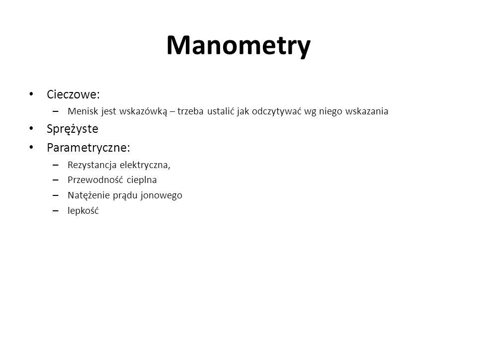 Manometry Cieczowe: – Menisk jest wskazówką – trzeba ustalić jak odczytywać wg niego wskazania Sprężyste Parametryczne: – Rezystancja elektryczna, – P