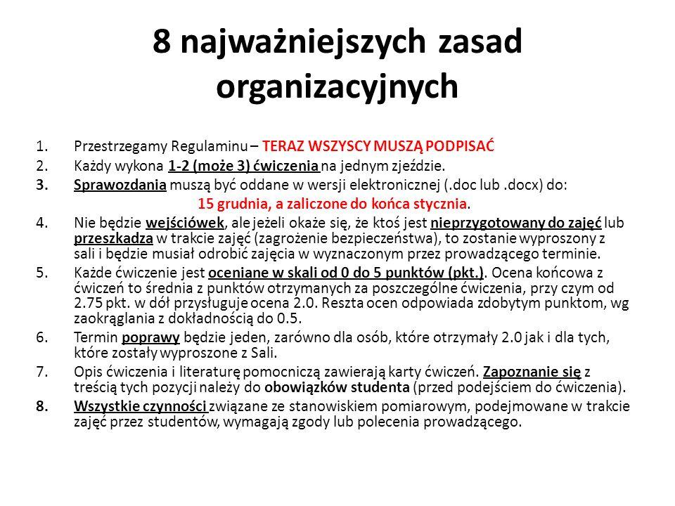8 najważniejszych zasad organizacyjnych 1.Przestrzegamy Regulaminu – TERAZ WSZYSCY MUSZĄ PODPISAĆ 2.Każdy wykona 1-2 (może 3) ćwiczenia na jednym zjeź