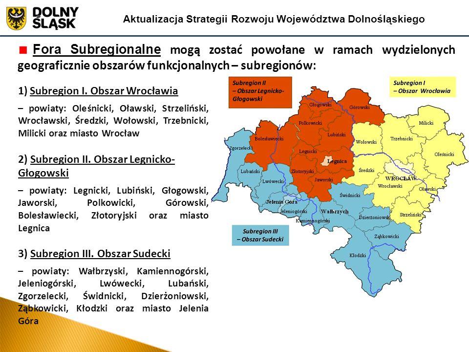 Fora Subregionalne mogą zostać powołane w ramach wydzielonych geograficznie obszarów funkcjonalnych – subregionów: Aktualizacja Strategii Rozwoju Województwa Dolnośląskiego 1)Subregion I.