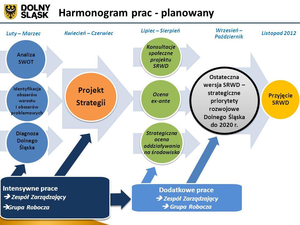 Dodatkowe prace Zespół Zarządzający Grupa Robocza Harmonogram prac - planowany Projekt Strategii Projekt Strategii Ocena ex-ante Strategiczna ocena od
