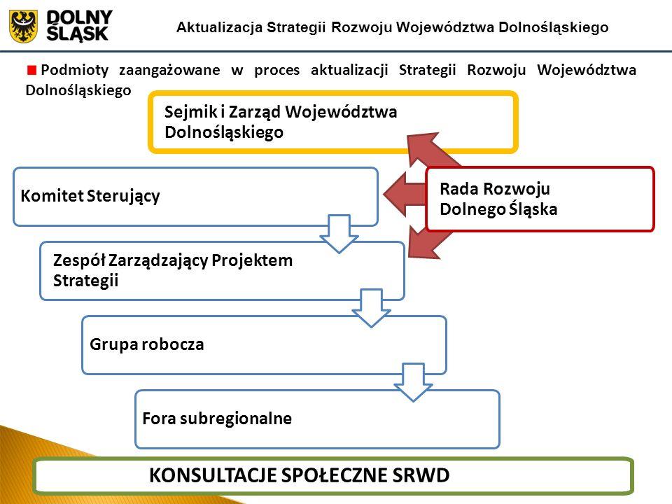 Zespół Zarządzający Projektem Strategii Podmioty zaangażowane w proces aktualizacji Strategii Rozwoju Województwa Dolnośląskiego Komitet Sterujący For