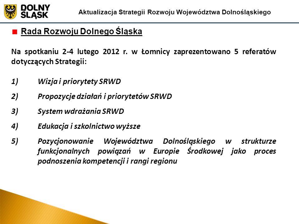 Rada Rozwoju Dolnego Śląska Na spotkaniu 2-4 lutego 2012 r. w Łomnicy zaprezentowano 5 referatów dotyczących Strategii: 1)Wizja i priorytety SRWD 2)Pr
