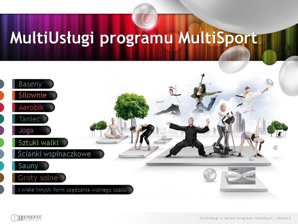 MultiUsługi w ramach programu MultiSport | Strona 5 Baseny Siłownie Aerobik Taniec Joga Sztuki walki Ścianki wspinaczkowe Sauny Groty solne i wiele in