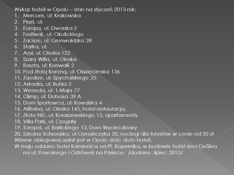 Wykaz hoteli w Opolu – stan na styczeń 2013 rok: 1.Mercure, ul: Krakowska 2.Piast, ul: 3.Europa, ul: Dworska 2 4.Festiwal, ul: Okulickiego 5.Zacisze,