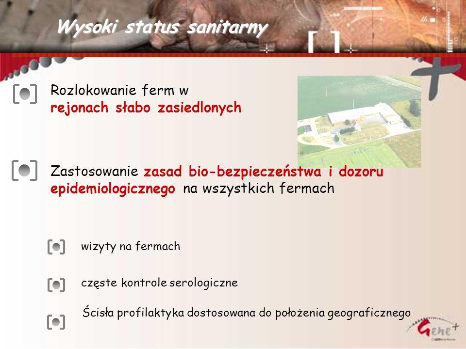 wizyty na fermach częste kontrole serologiczne Wysoki status sanitarny Rozlokowanie ferm w rejonach słabo zasiedlonych Zastosowanie zasad bio-bezpiecz