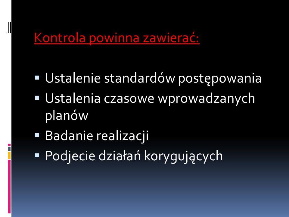 Kontrola powinna zawierać: Ustalenie standardów postępowania Ustalenia czasowe wprowadzanych planów Badanie realizacji Podjecie działań korygujących