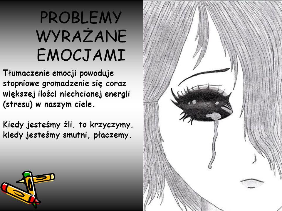 PROBLEMY WYRAŻANE EMOCJAMI Tłumaczenie emocji powoduje stopniowe gromadzenie się coraz większej ilości niechcianej energii (stresu) w naszym ciele. Ki