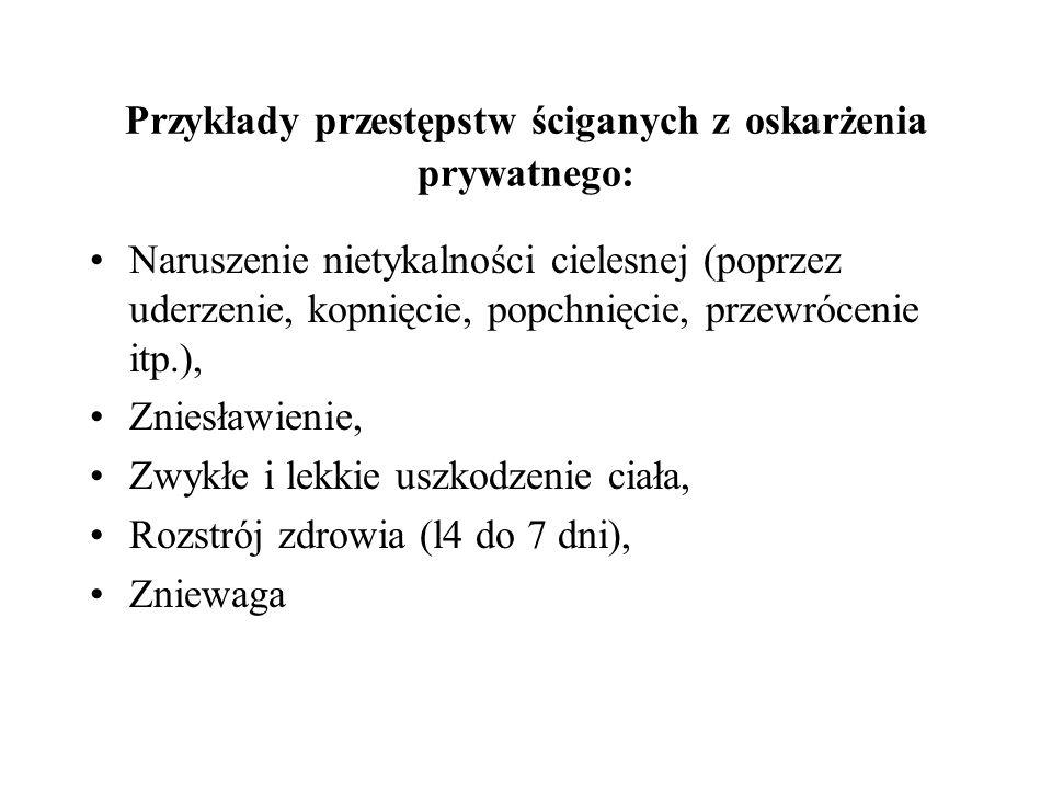 Przykłady przestępstw ściganych z oskarżenia prywatnego: Naruszenie nietykalności cielesnej (poprzez uderzenie, kopnięcie, popchnięcie, przewrócenie i