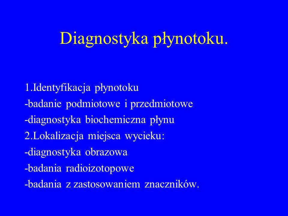 Diagnostyka płynotoku. 1.Identyfikacja płynotoku -badanie podmiotowe i przedmiotowe -diagnostyka biochemiczna płynu 2.Lokalizacja miejsca wycieku: -di