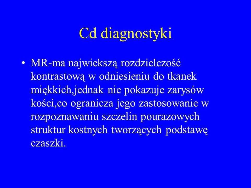 Cd diagnostyki MR-ma najwiekszą rozdzielczość kontrastową w odniesieniu do tkanek miękkich,jednak nie pokazuje zarysów kości,co ogranicza jego zastoso