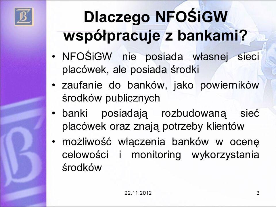 Dlaczego NFOŚiGW współpracuje z bankami? NFOŚiGW nie posiada własnej sieci placówek, ale posiada środki zaufanie do banków, jako powierników środków p