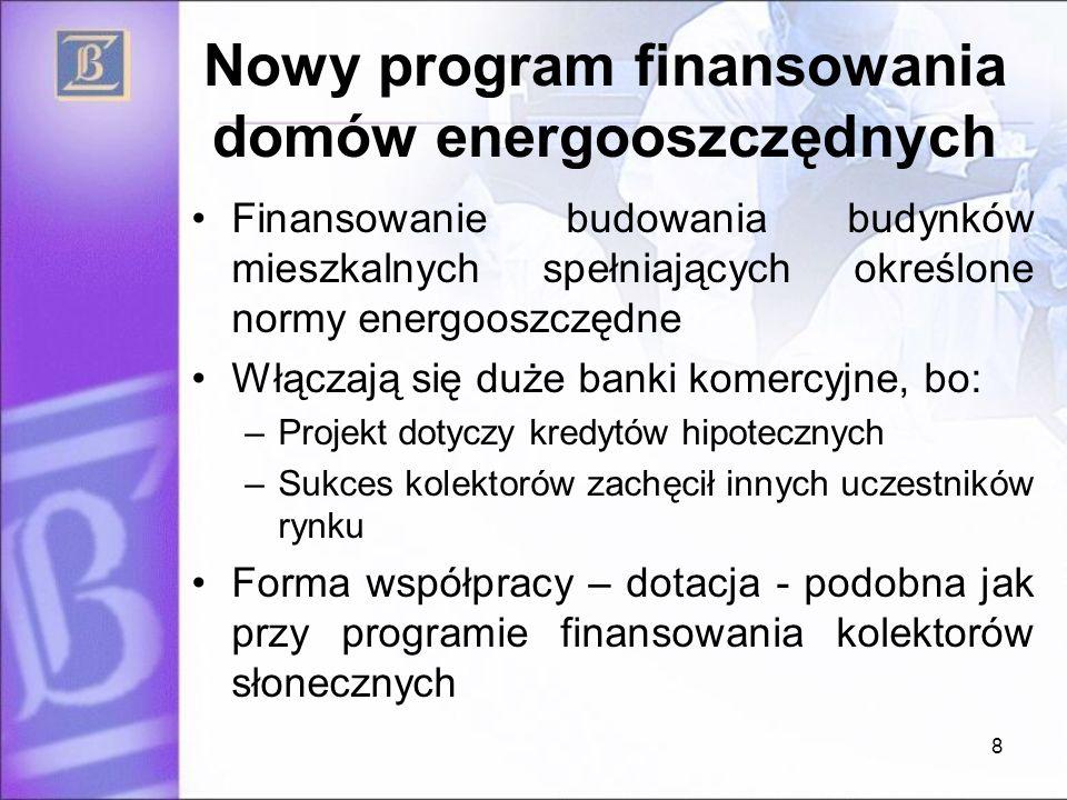 Nowy program finansowania domów energooszczędnych Finansowanie budowania budynków mieszkalnych spełniających określone normy energooszczędne Włączają się duże banki komercyjne, bo: –Projekt dotyczy kredytów hipotecznych –Sukces kolektorów zachęcił innych uczestników rynku Forma współpracy – dotacja - podobna jak przy programie finansowania kolektorów słonecznych 8