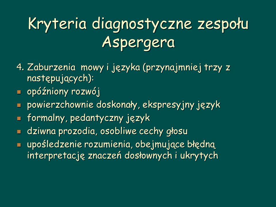 Kryteria diagnostyczne zespołu Aspergera 4. Zaburzenia mowy i języka (przynajmniej trzy z następujących): opóźniony rozwój opóźniony rozwój powierzcho