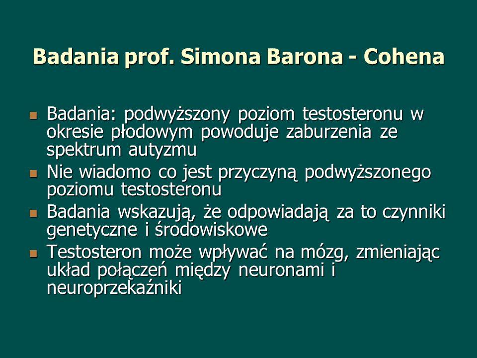 Badania prof. Simona Barona - Cohena Badania: podwyższony poziom testosteronu w okresie płodowym powoduje zaburzenia ze spektrum autyzmu Badania: podw