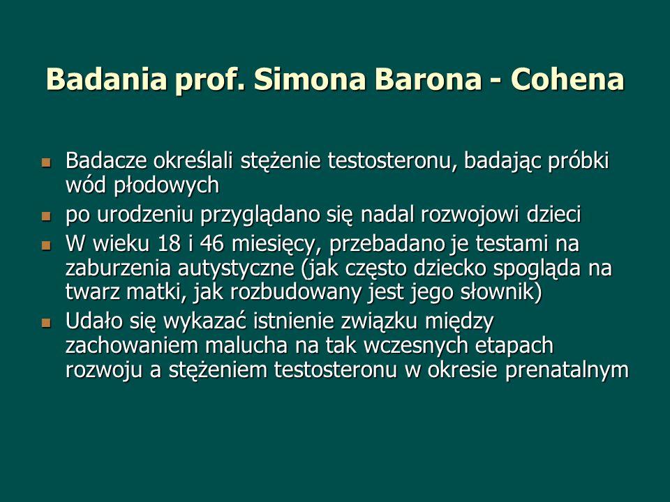 Badania prof. Simona Barona - Cohena Badacze określali stężenie testosteronu, badając próbki wód płodowych Badacze określali stężenie testosteronu, ba