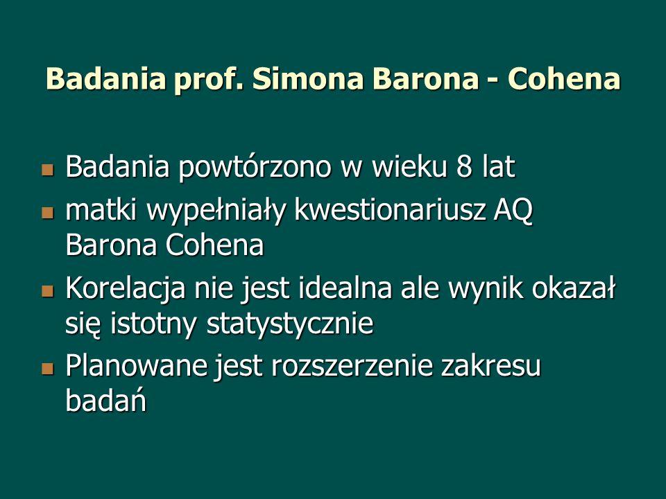 Badania prof. Simona Barona - Cohena Badania powtórzono w wieku 8 lat Badania powtórzono w wieku 8 lat matki wypełniały kwestionariusz AQ Barona Cohen