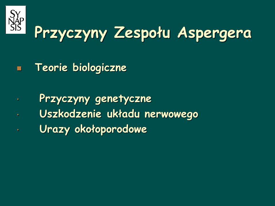 Przyczyny Zespołu Aspergera Teorie biologiczne Teorie biologiczne Przyczyny genetyczne Przyczyny genetyczne Uszkodzenie układu nerwowego Uszkodzenie u