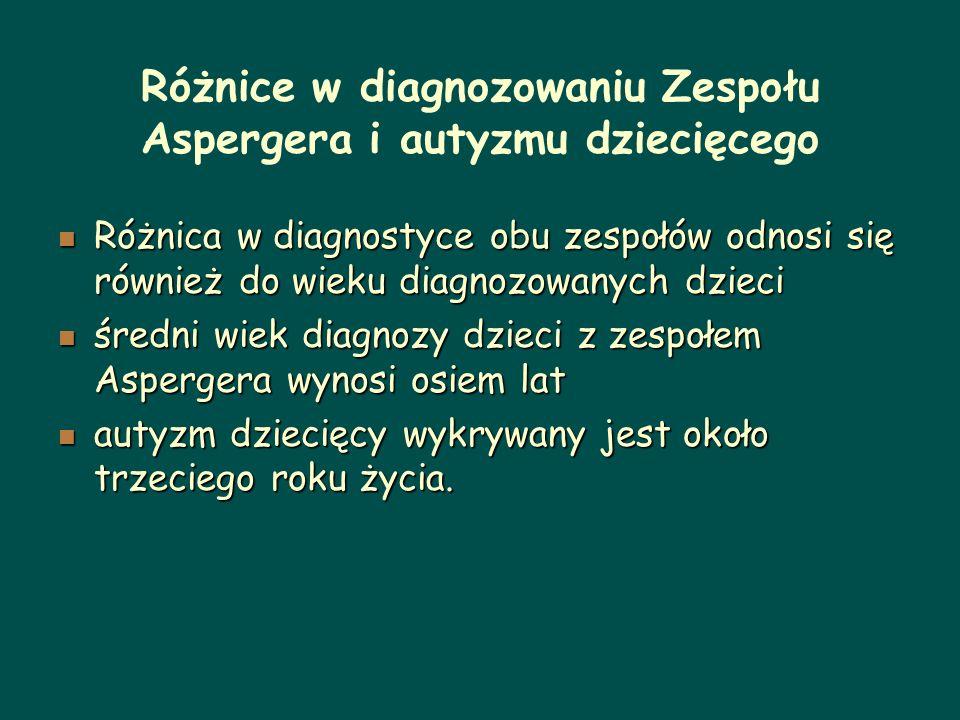 Różnice w diagnozowaniu Zespołu Aspergera i autyzmu dziecięcego Różnica w diagnostyce obu zespołów odnosi się również do wieku diagnozowanych dzieci R