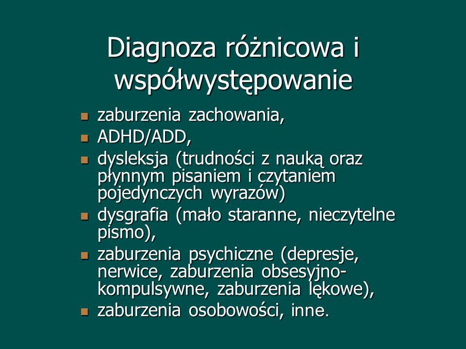 Diagnoza różnicowa i współwystępowanie zaburzenia zachowania, zaburzenia zachowania, ADHD/ADD, ADHD/ADD, dysleksja (trudności z nauką oraz płynnym pis