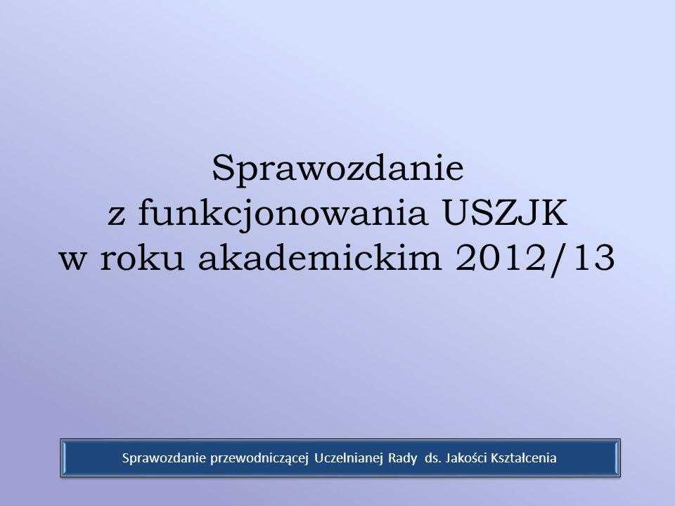 Sprawozdanie z funkcjonowania USZJK w roku akademickim 2012/13 Sprawozdanie przewodniczącej Uczelnianej Rady ds. Jakości Kształcenia