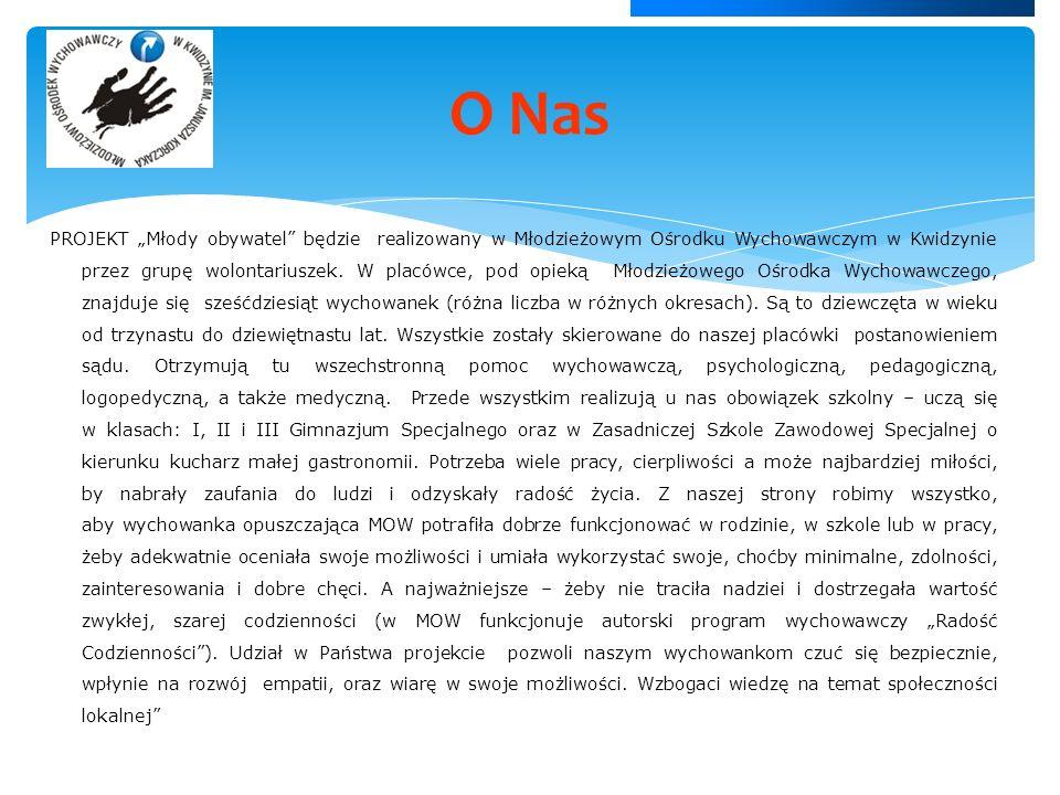 PROJEKT Młody obywatel będzie realizowany w Młodzieżowym Ośrodku Wychowawczym w Kwidzynie przez grupę wolontariuszek.