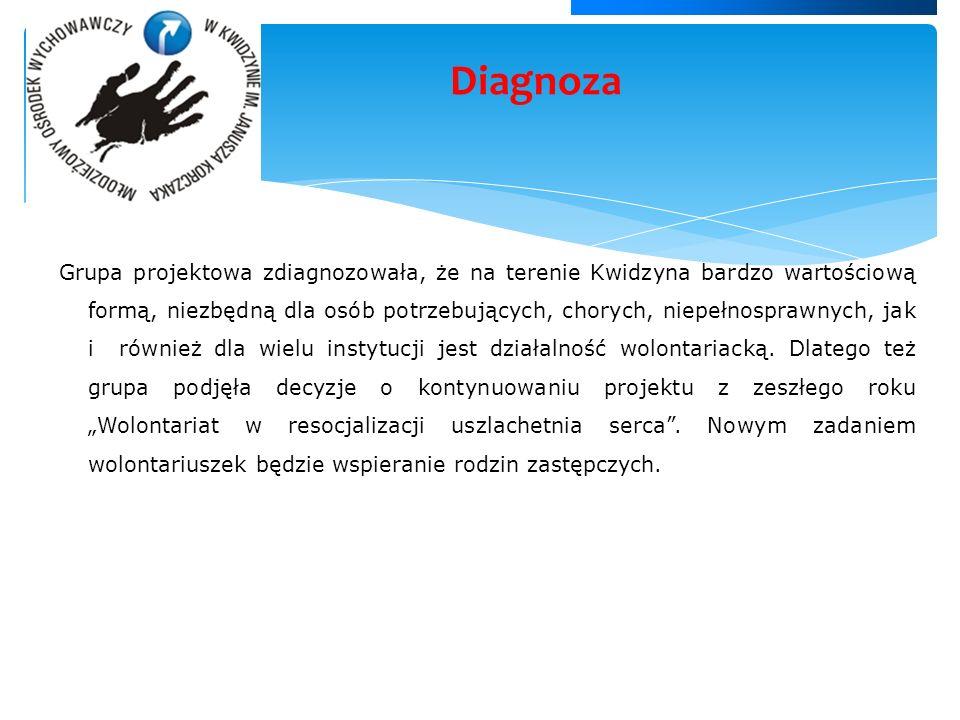 Grupa projektowa zdiagnozowała, że na terenie Kwidzyna bardzo wartościową formą, niezbędną dla osób potrzebujących, chorych, niepełnosprawnych, jak i